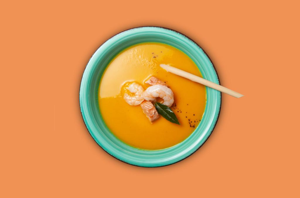 Kürbis-Karottensuppe mit Garnelen und Lachs 500ml